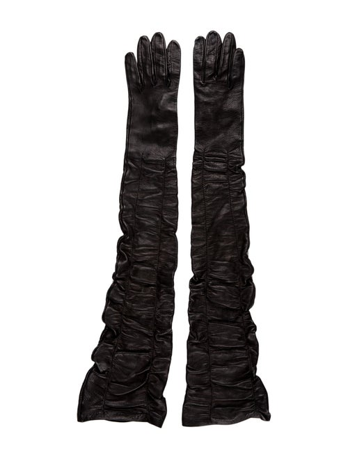 Alexander McQueen Leather Ruched-Accented Gloves B