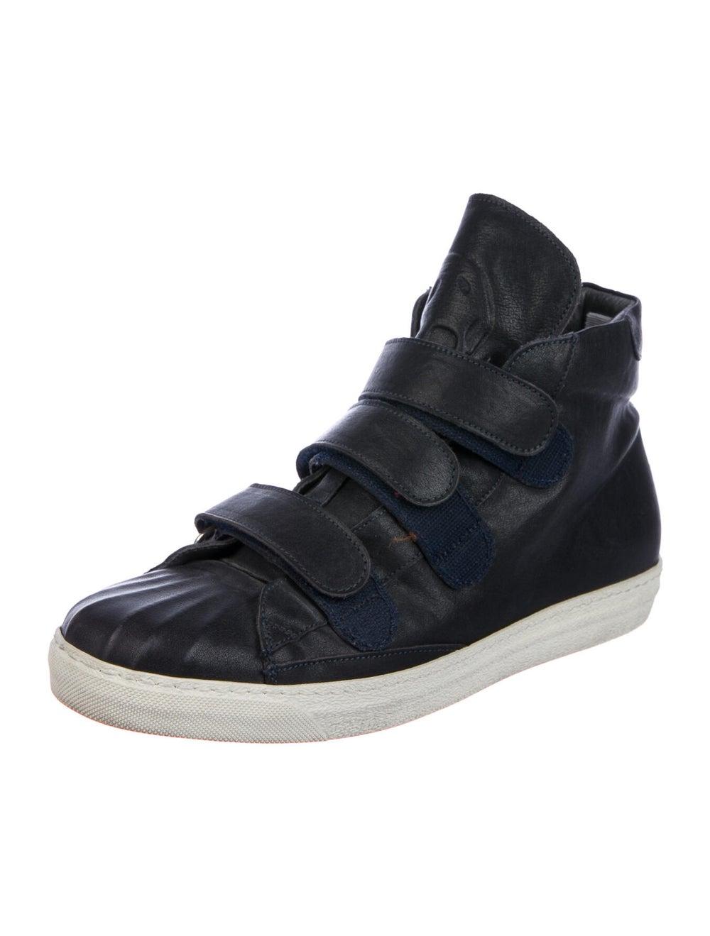 Alexander McQueen Leather Sneakers Blue - image 2