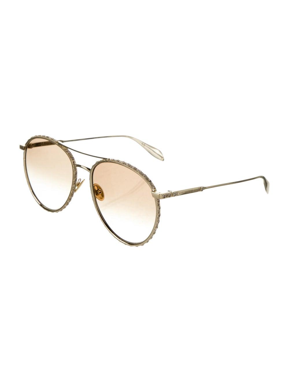 Alexander McQueen Aviator Gradient Sunglasses Gold - image 2