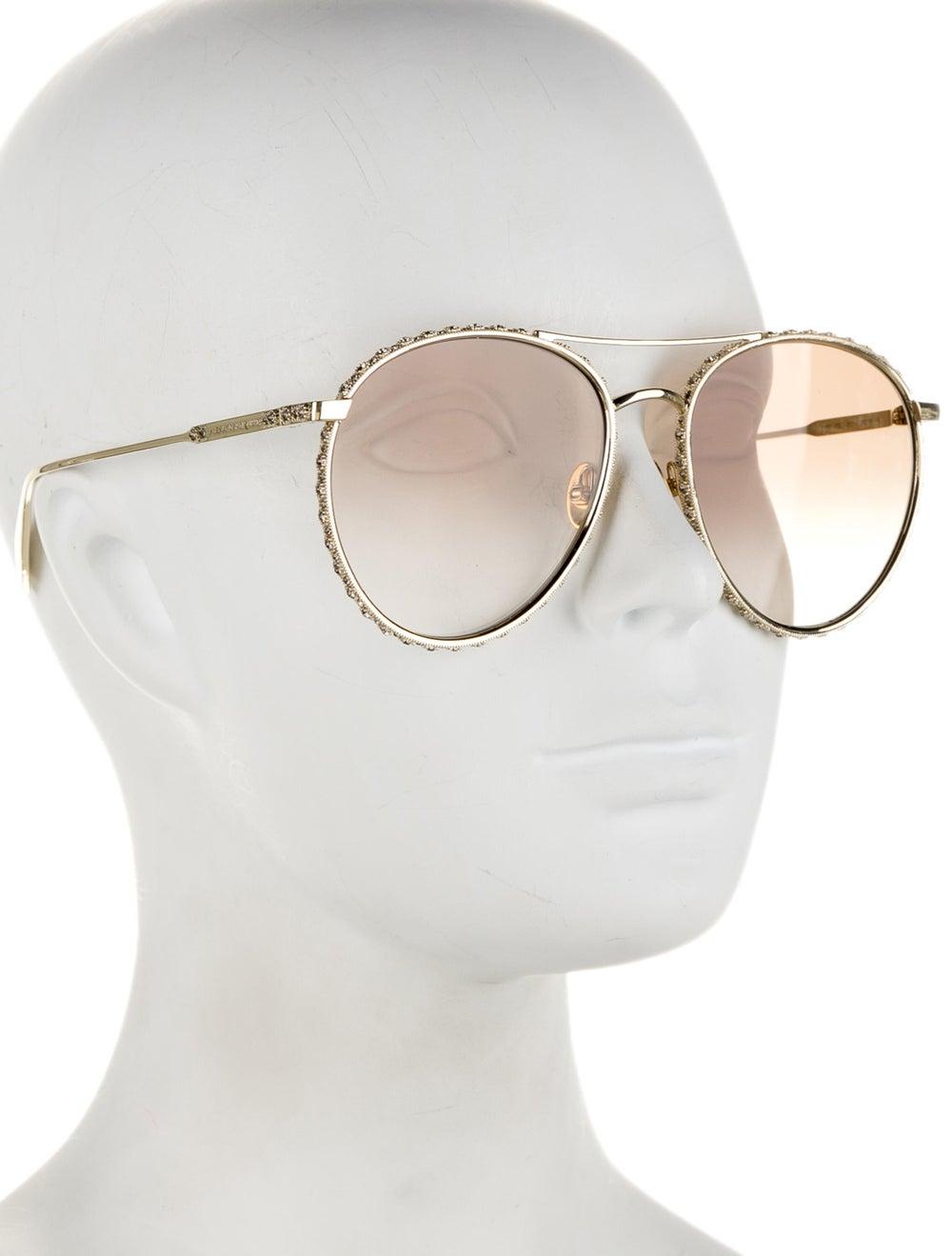 Alexander McQueen Aviator Gradient Sunglasses Gold - image 4