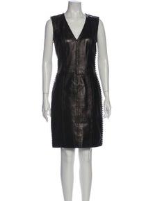 Alexander McQueen Leather Knee-Length Dress