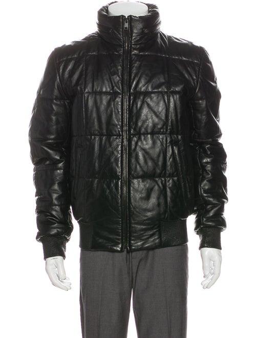 Alexander McQueen Leather Puffer Coat Black