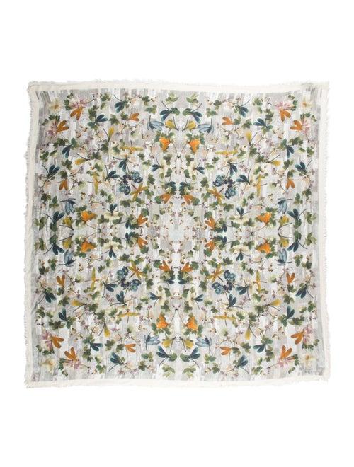 Alexander McQueen Silk-Blend Floral Scarf Grey