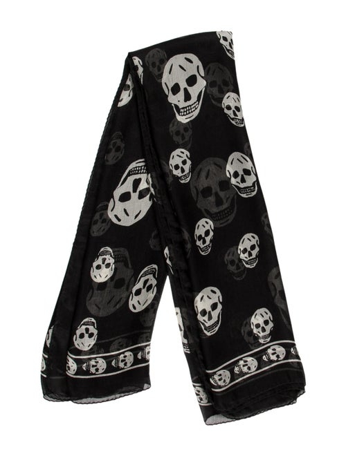 Alexander McQueen Silk Skull Scarf Black