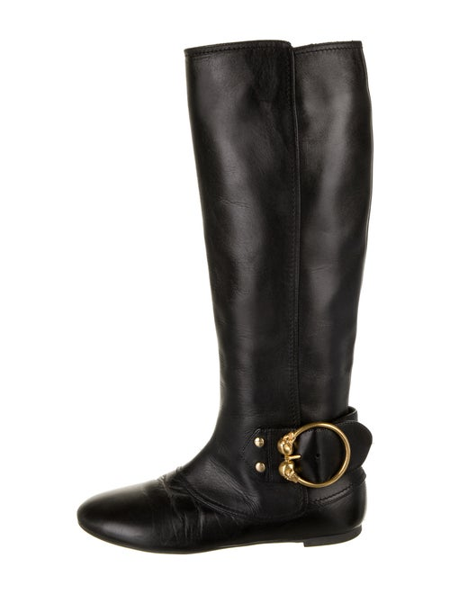 Alexander McQueen Leather Riding Boots Black