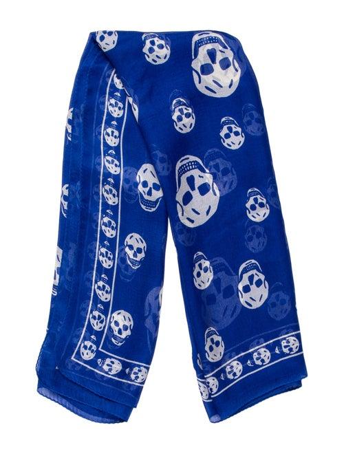 Alexander McQueen Silk Printed Scarf Blue
