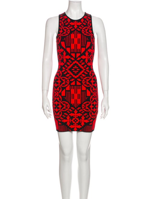 Alexander McQueen Printed Mini Dress Red