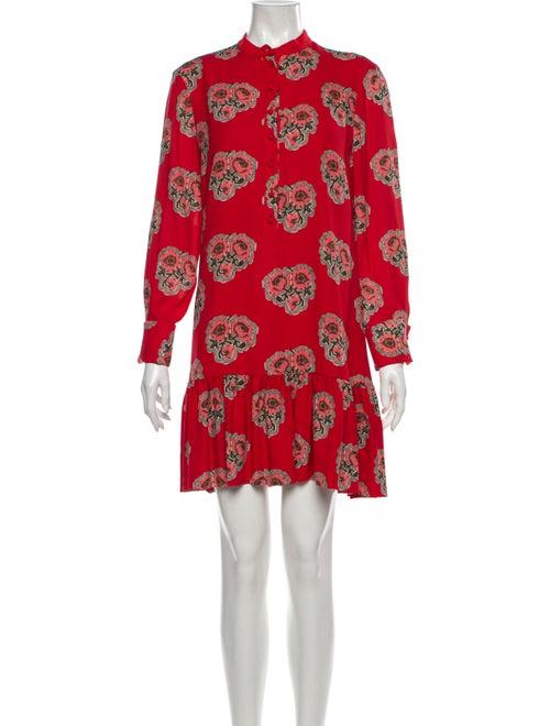 Alexander McQueen Silk Mini Dress Red