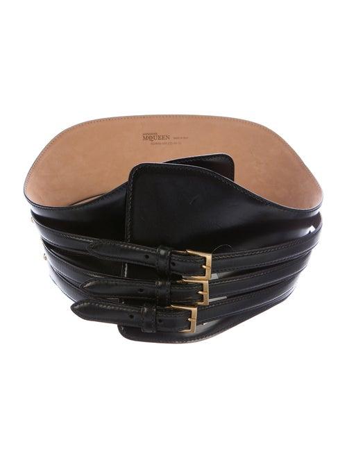 Alexander McQueen Leather Wide Waist Belt Black