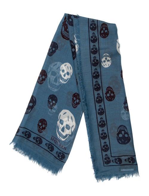 Alexander McQueen Silk Blend Skull Scarf Blue
