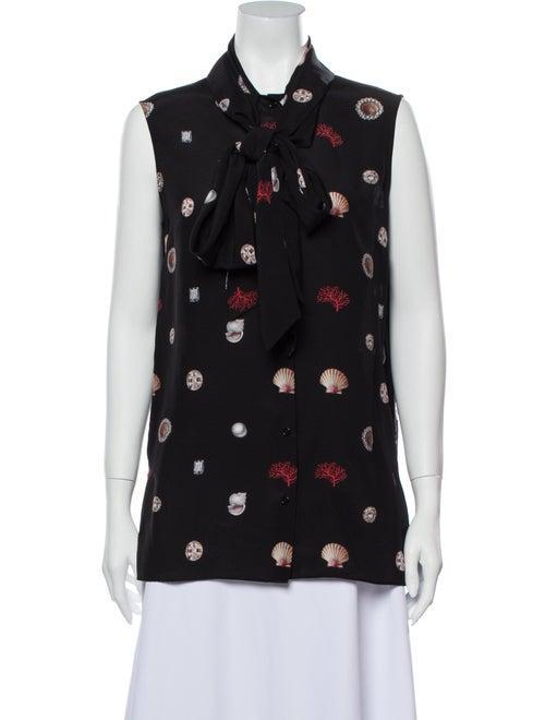 Alexander McQueen Silk Printed Button-Up Top Black