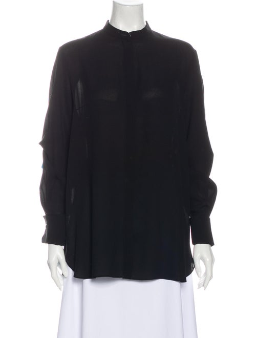 Alexander McQueen Silk Mock Neck Blouse Black