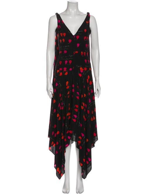 Alexander McQueen Silk Long Dress Black