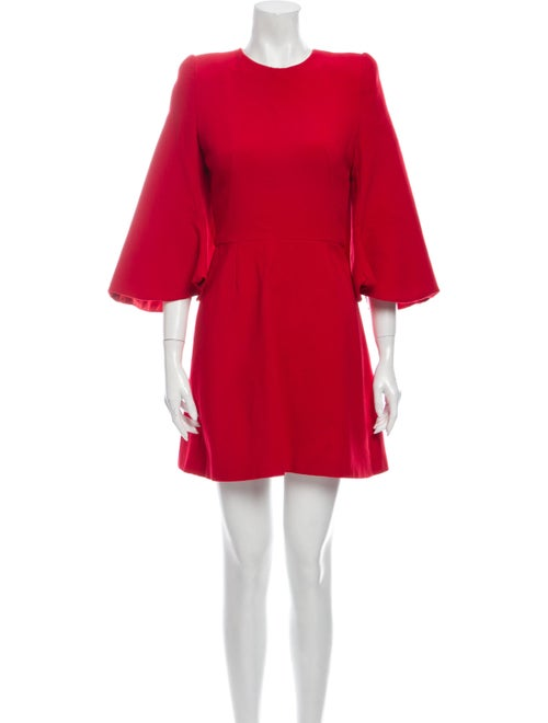 Alexander McQueen Crew Neck Mini Dress Red