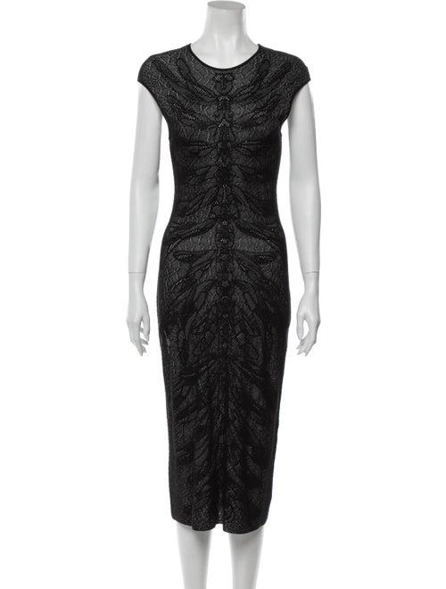 Alexander McQueen Lace Pattern Long Dress Black