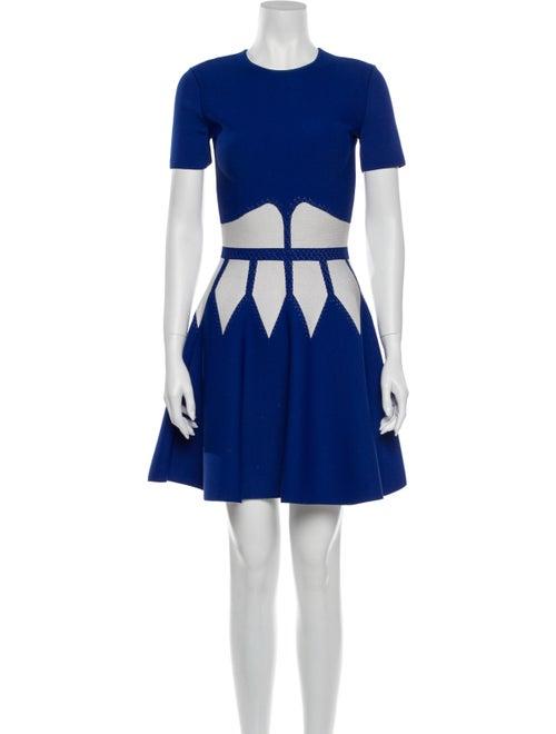 Alexander McQueen Colorblock Pattern Mini Dress Bl