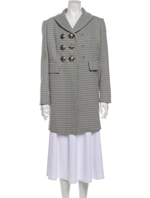Alexander McQueen Houndstooth Print Coat White