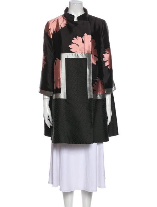 Alexander McQueen Silk Printed Coat Black
