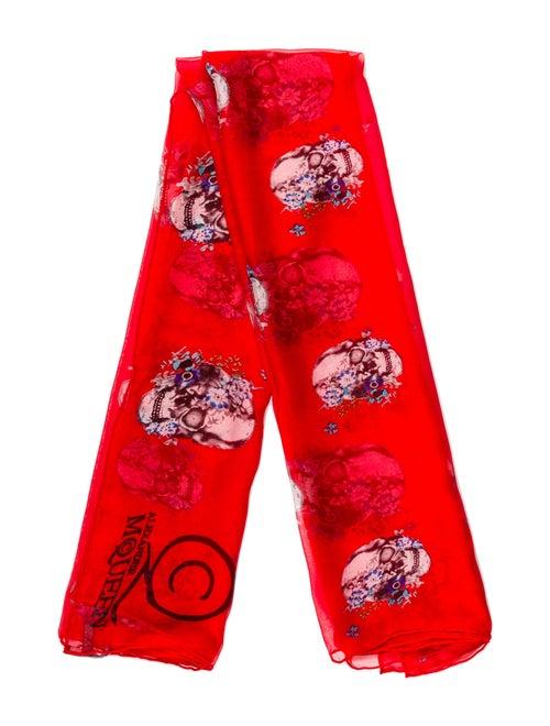 Alexander McQueen Silk Skull Scarf Red