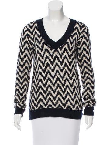 Adam Lippes V-Neck Chevron Pattern Sweater None