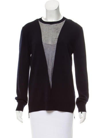 Adam Lippes Mesh-Paneled Lightweight Sweater None