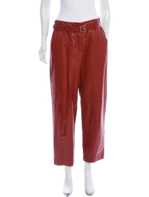 Adam Lippes Lamb Leather Straight Leg Pants Red