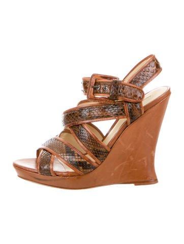 Alexandre Birman Python Wedge Sandals None