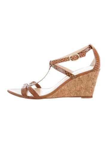 Alexandre Birman Snakeskin T-Strap Wedges None