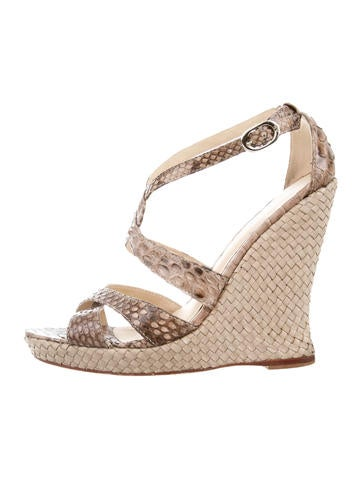 Alexandre Birman Python Crossover Wedges None