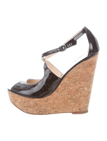 Alexandre Birman Patent Leather Peep-Toe Wedges None