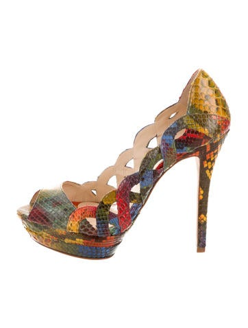 Alexandre Birman Python Peep-Toe Pumps None