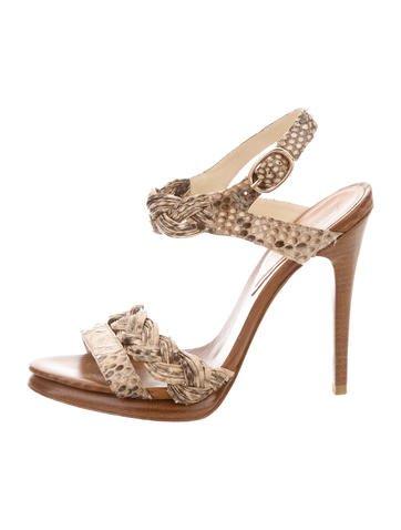 Alexandre Birman Snakeskin Ankle Strap Sandals None