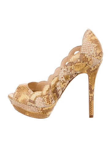 Alexandre Birman Snakeskin Platform Pumps None