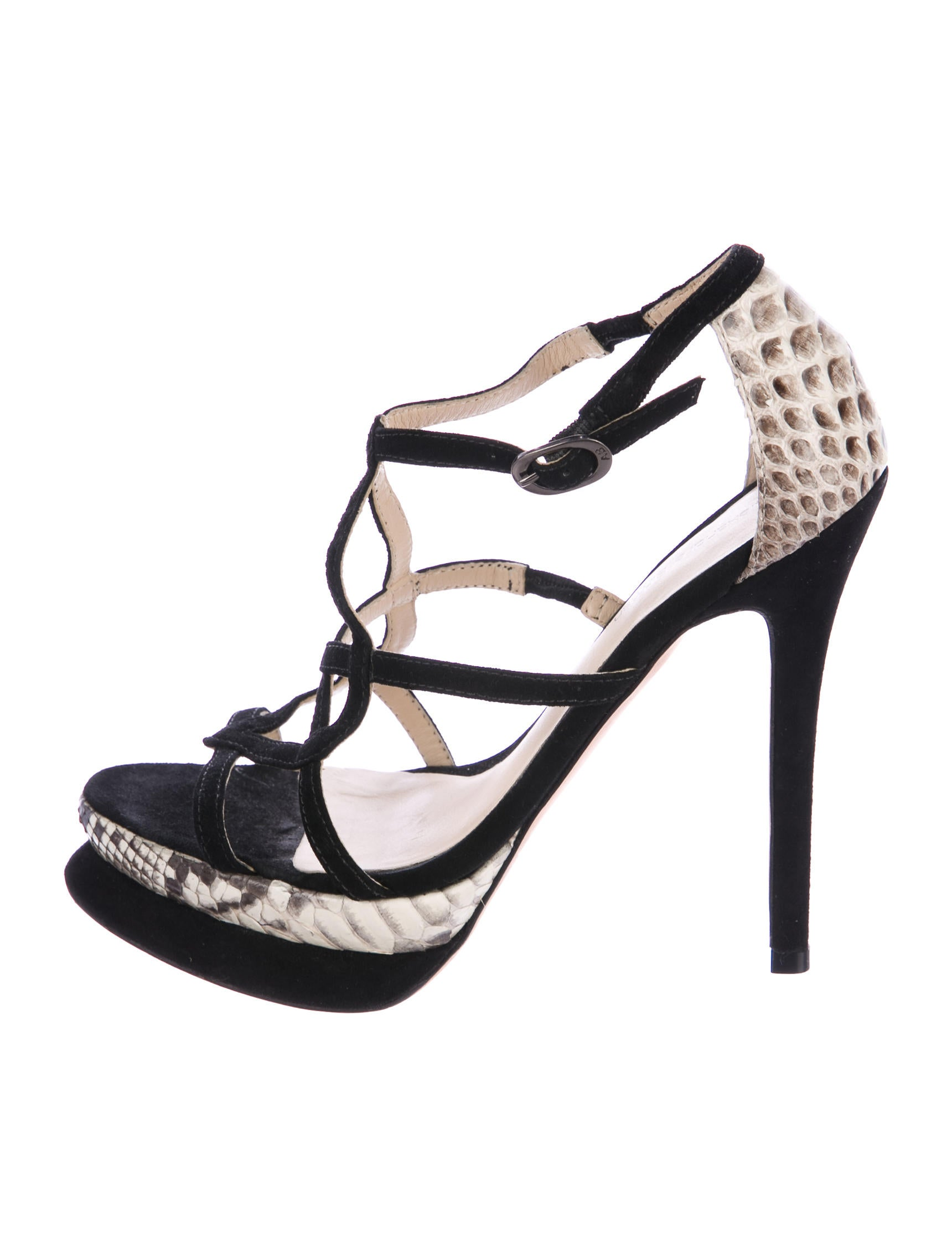sale many kinds of Alexandre Birman Python-Trimmed Cage Sandals free shipping discount UuWhE8LxA2