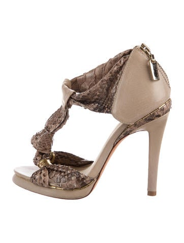 Alexandre Birman Snakeskin Platform Sandals None