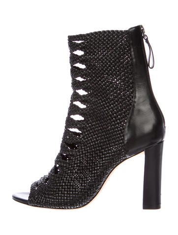 Alexandre Birman Woven Peep-Toe Booties None