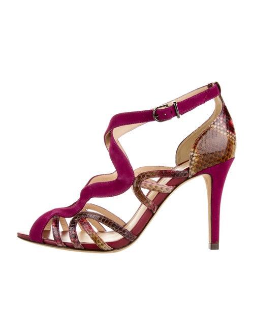 Alexandre Birman Suede Animal Print Sandals Pink