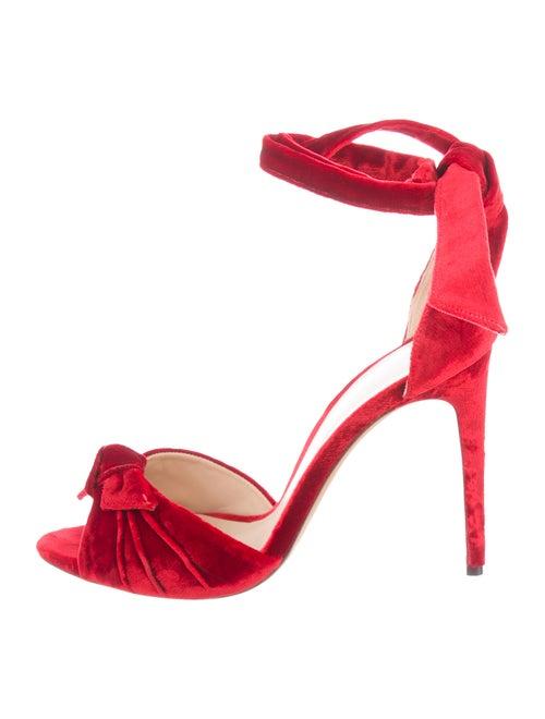 Alexandre Birman Velvet Ankle Strap Sandals Red