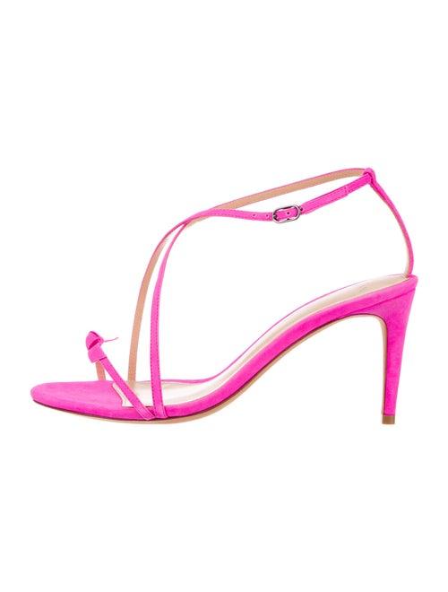 Alexandre Birman Suede T-Strap Sandals Pink