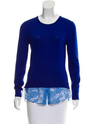 Altuzarra Lace-Trimmed Wool Top None