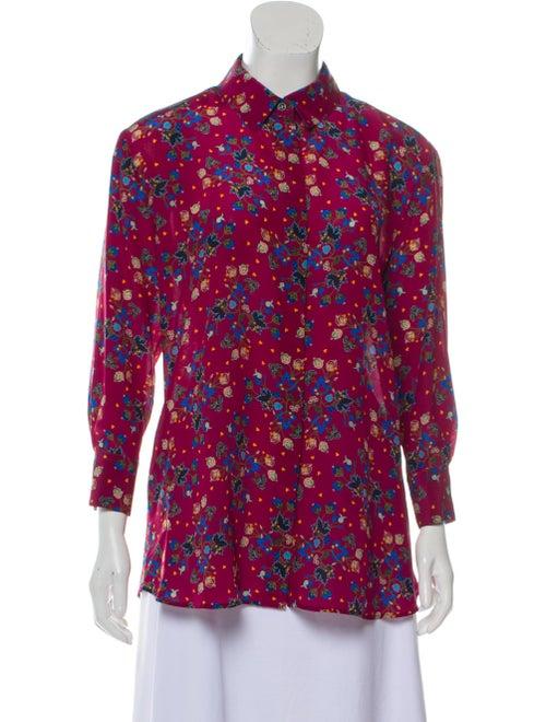 Altuzarra Floral Silk Button-Up Magenta