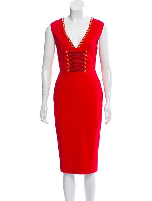 Altuzarra Lace-Up Embellished Dress Red