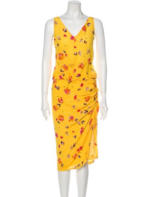 Altuzarra Silk Floral Print Skirt Set Yellow