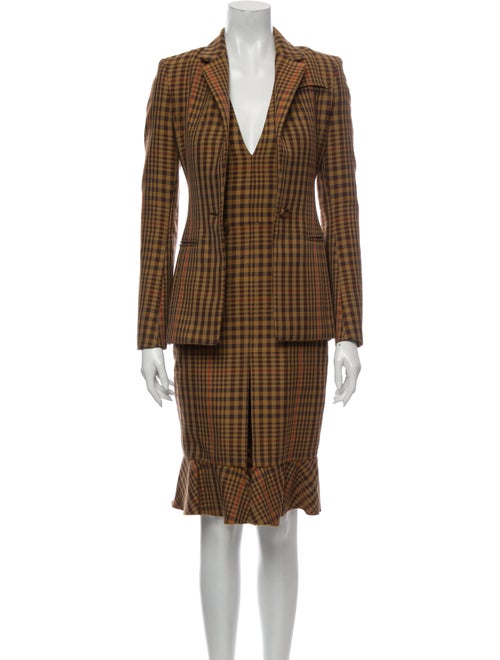 Altuzarra Plaid Print Dress Set Brown
