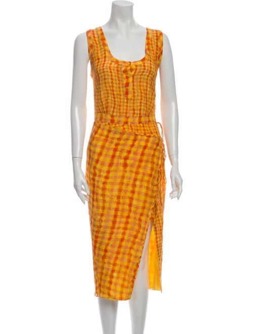 Altuzarra Silk Midi Length Dress Orange