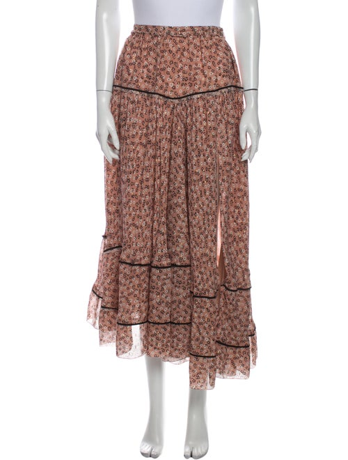 Altuzarra Floral Print Midi Length Skirt Metallic
