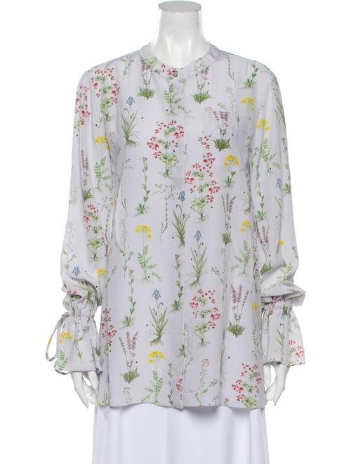 Altuzarra Silk Floral Print Button-Up Top Purple