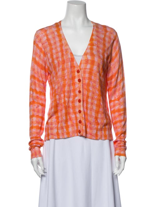 Altuzarra Plaid Print V-Neck Sweater Orange
