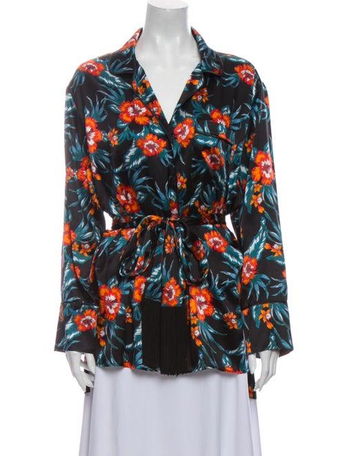 Altuzarra Silk Floral Print Blouse Black