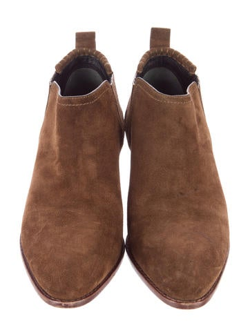Suede Almond-Toe Ankle Boots